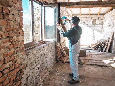 Man installing windows