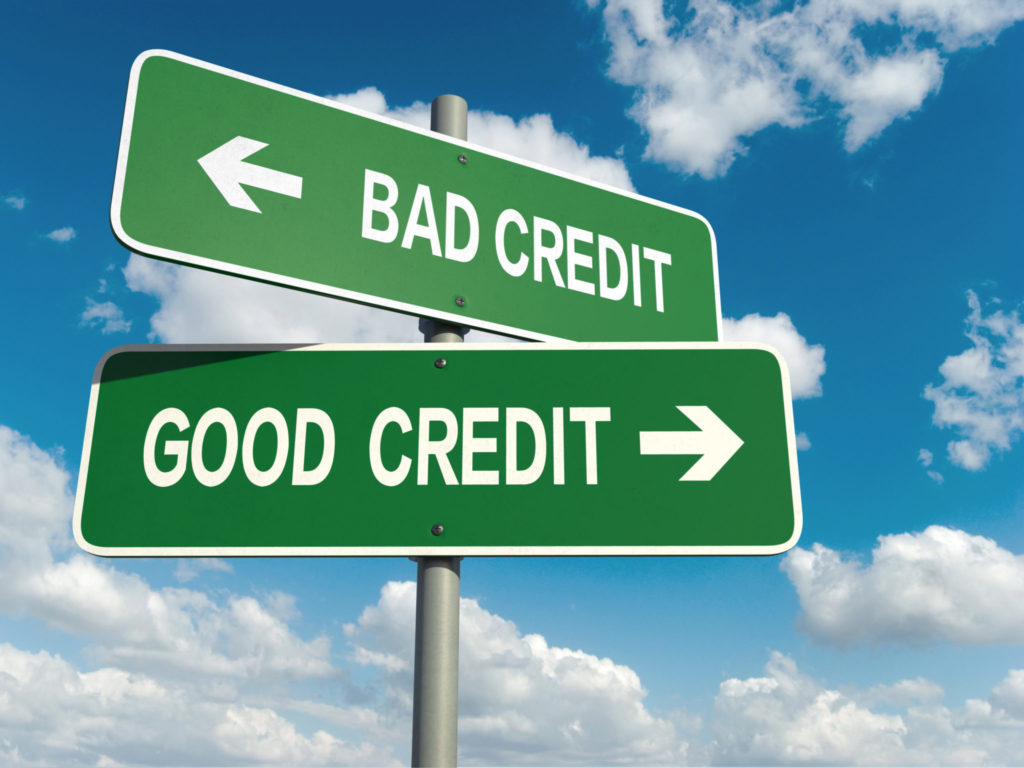 Sign showing good credit and bad credit
