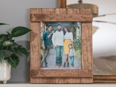 8x10 Picture frame on a mantel.