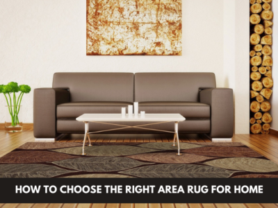 Area rug in front of a couch
