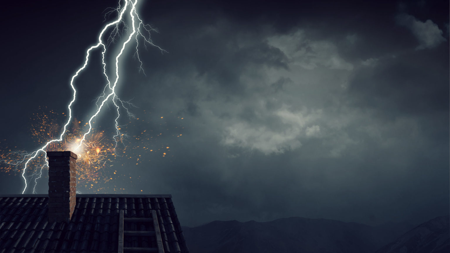 Bright lightning striking roof of house.