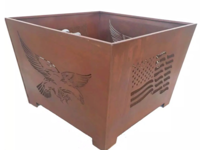 Eagle 24 in. x 16 in. Square Steel Wood Burning Fire Pit in Rust