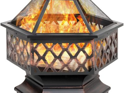 Best Choice Products Hex-Shaped 24in Steel Fire Pit