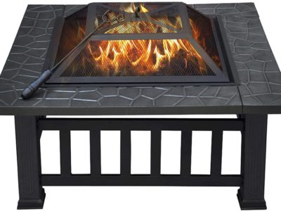 Yaheetech 32in Outdoor Metal Wood Burning Firepit Square Table