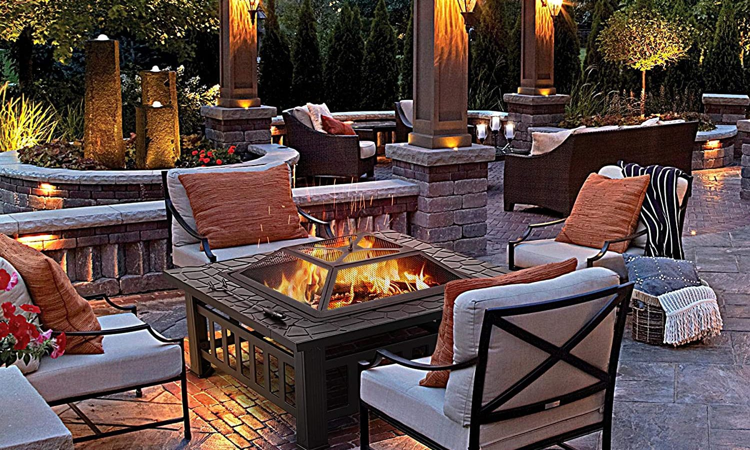 Yaheetech 32in Outdoor Metal Wood Burning Firepit Square Table Lifestyle