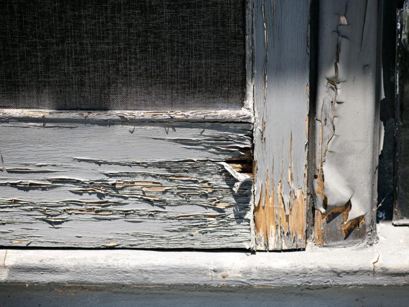 Wood rot in a door