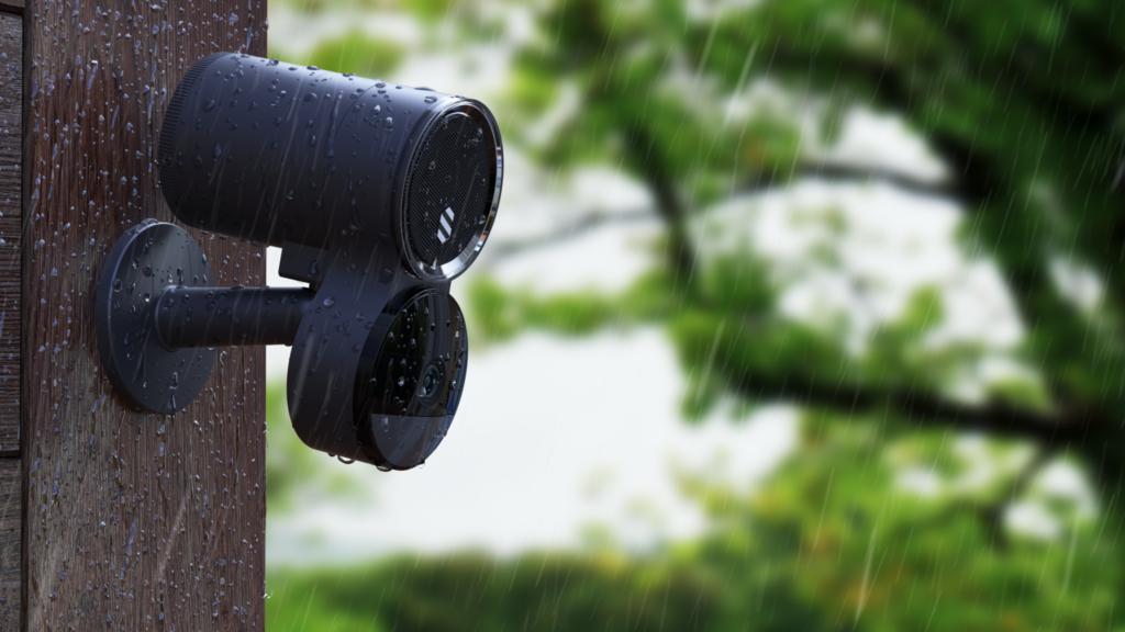 Deep Sentinel camera outside in the rain