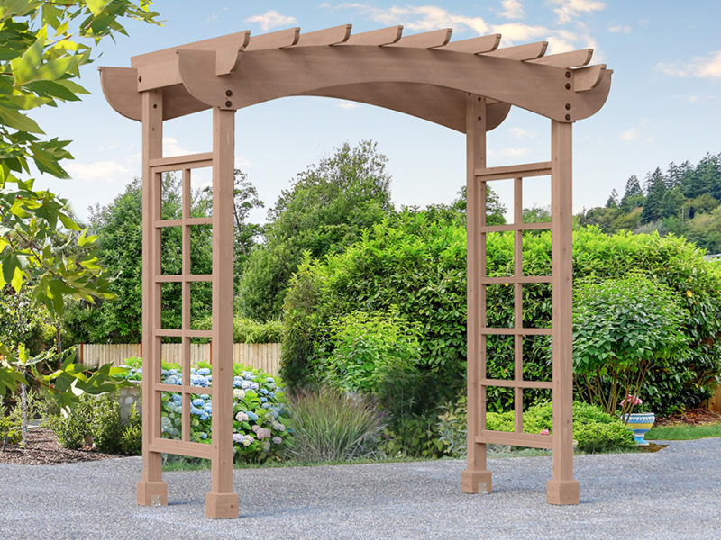 Arbor in a backyard of a home