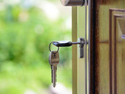 Key in lock of open door