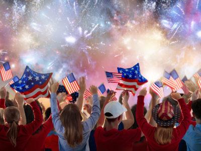 Family celebrating 4th of July fireworks