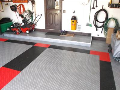 Customer installation of Diamond Grid-Loc garage floor tiles.