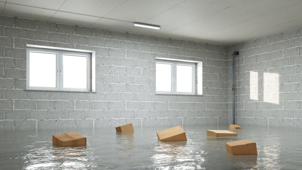 Flooded basement after rain storm