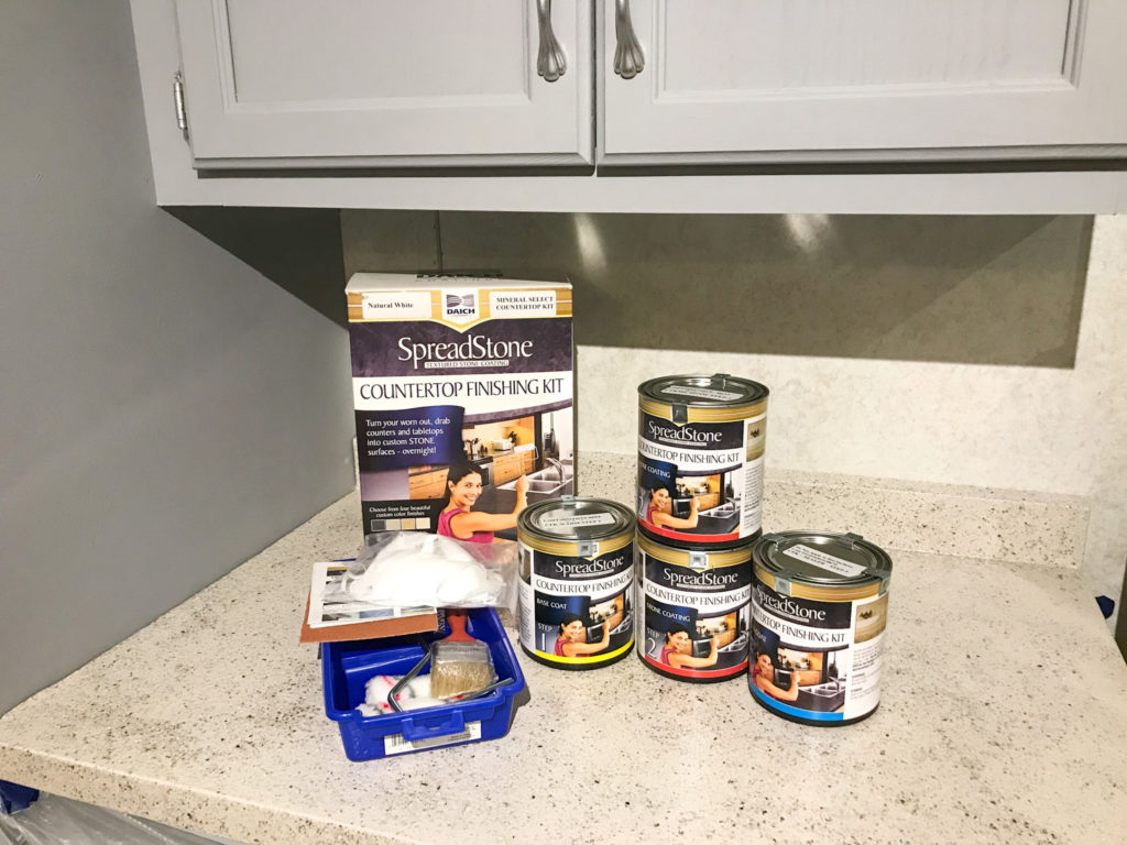 SpreadStone countertop kit on a kitchen counter