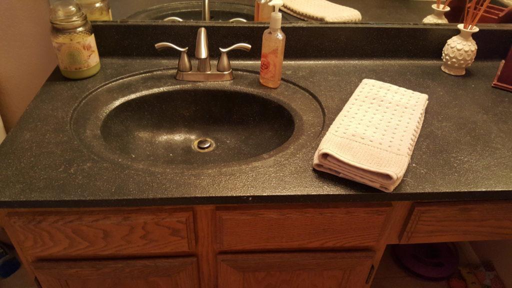 Bathroom vanity top restored with SpreadStone Coating