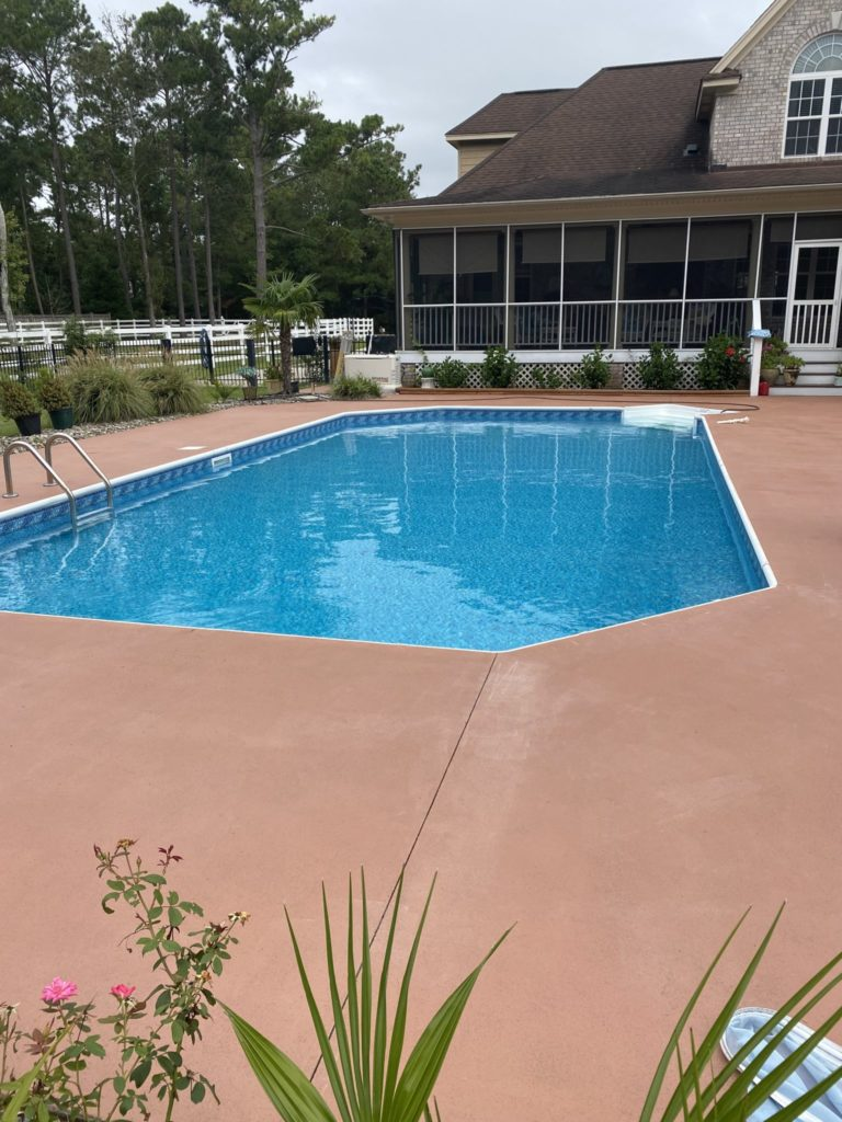 The pool surface was restored using RollerRock made by DAICH Coatings