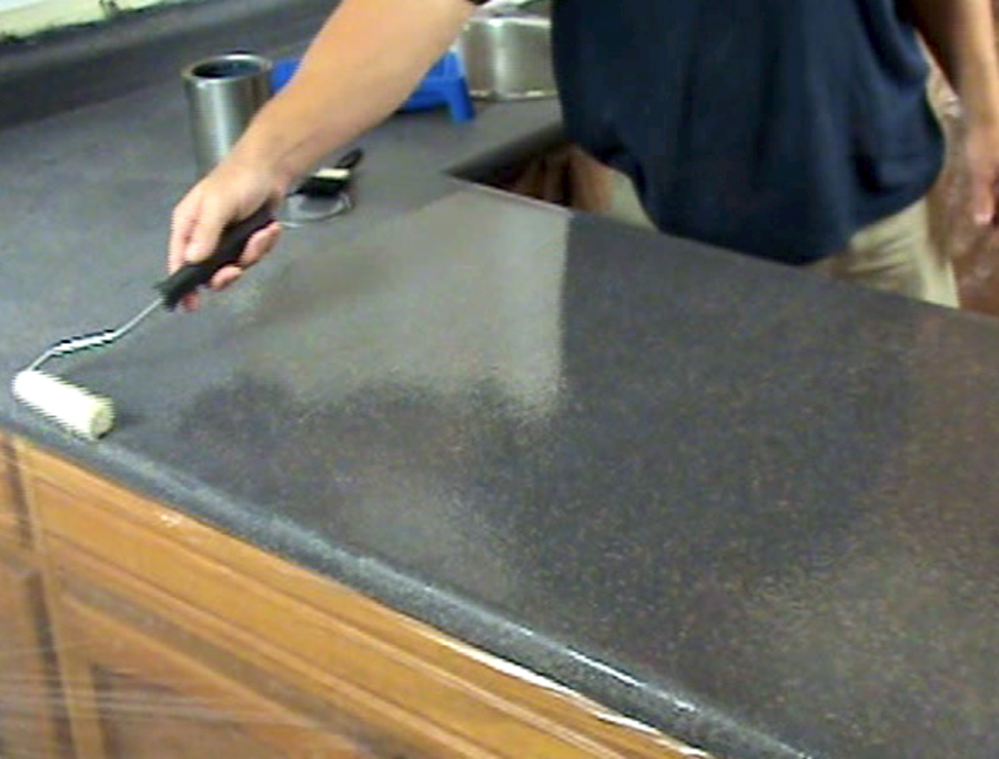 Applying the SpreadStone sealer to the finished countertop