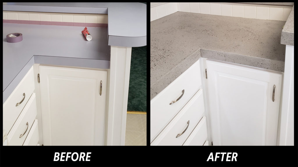 Before and afterview of the SpreadStone finish on a laminate kitchen countertop